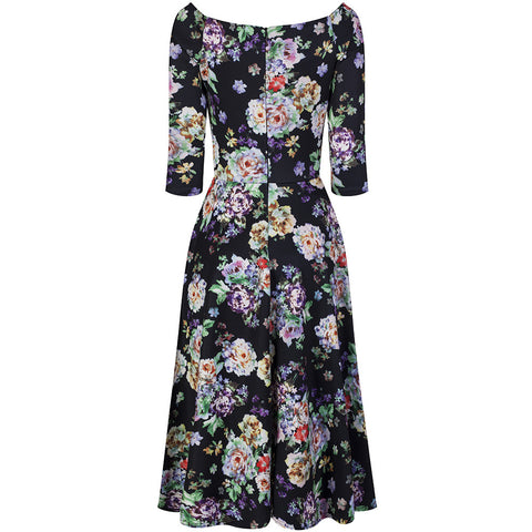 Black Multi Floral 3/4 Sleeve Swing Dress - Pretty Kitty Fashion
