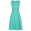 Aqua Green Vintage Bow Detail Sleeveless Swing Dress - Pretty Kitty Fashion