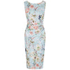 Aqua Green Floral Bird Print Wiggle Pencil Dress - Pretty Kitty Fashion