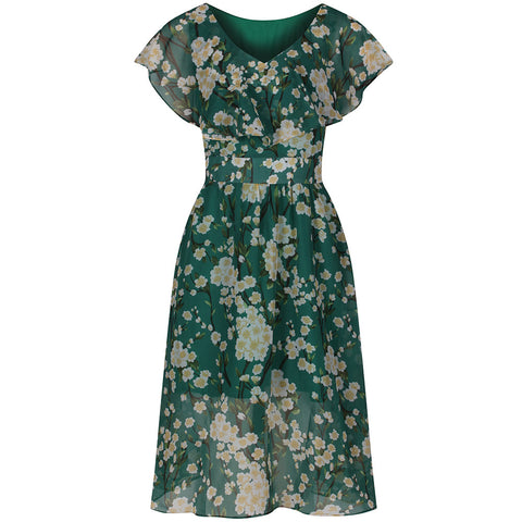Green Floral Chiffon Dress