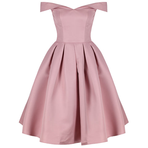 Pink Bardot Midi Dress Chi chi