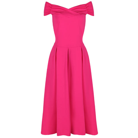 Hot Pink Crossover Bardot Swing Dress