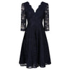Jolie Moi Navy Blue 3/4 Sleeve V Neck Embroidered Lace 50s Swing Dress - Pretty Kitty Fashion