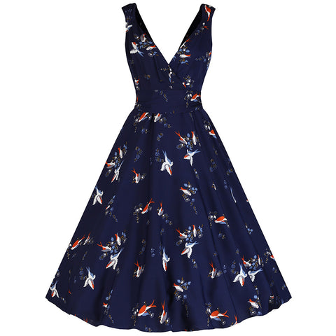 Navy Blue Bird Print Swing Dress - Pretty Kitty Fashion