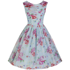 Sky Blue and Pink Chiffon Rose Swing Dress