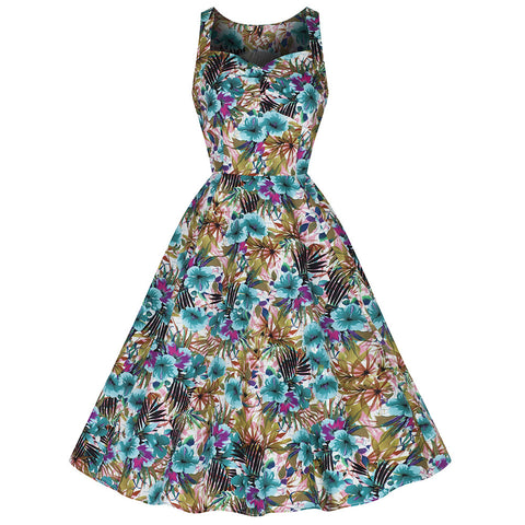 Turquoise Green Floral Print Strappy Sleeveless Rockabilly Dress