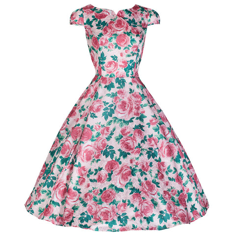 Pretty Kitty Pink Floral Swing Dress