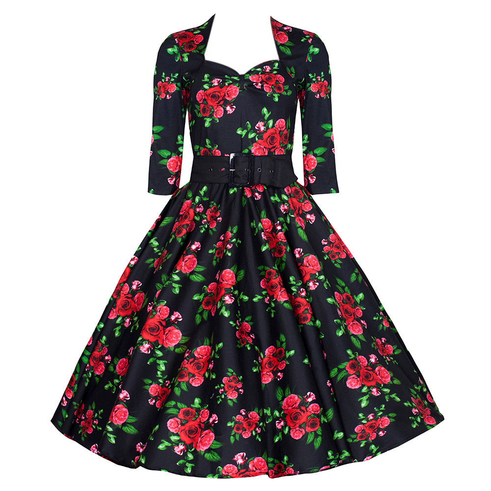 1f74abf719 Vintage 1950s Black and Red Roses Rockabilly Party Prom Dress ...