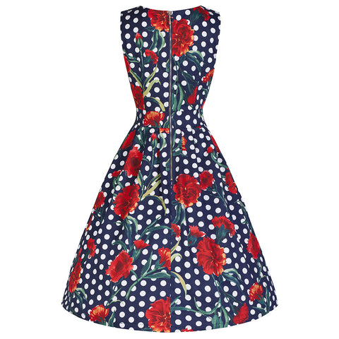 Navy Polka Dot Rose Sleeveless Swing Dress