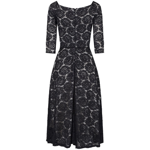 Black 3/4 Sleeve Lace Cocktail Dress
