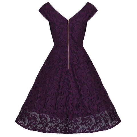 Deep Purple Lace Embroidered Dress