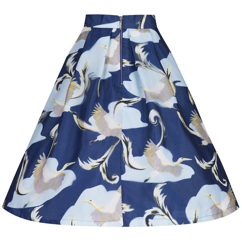 Navy Blue Bird Print 3D Skirt - Pretty Kitty Fashion