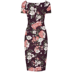 Burgundy and Pink Floral Capped Sleeve Bodycon Wiggle Dress