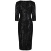 Vintage 1940s Black Velour Sequin Wiggle Dress - Pretty Kitty Fashion