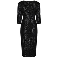 Black Velour Sequin Wiggle Dress - Pretty Kitty Fashion
