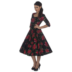 Black Red Roses Rockabilly Party Prom Dress - Pretty Kitty Fashion