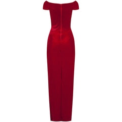 Red Velour Crossover Maxi Dress