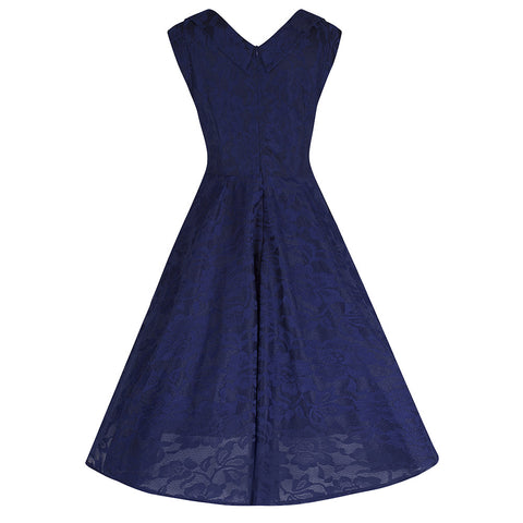 Navy Blue Lace Embroidered Swing Dress