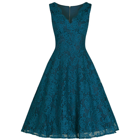 Teal Blue Lace Embroidered Swing Dress