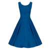 Petrol Blue Wrap Belt Waistband Sleeveless Chiffon 50s Swing Dress