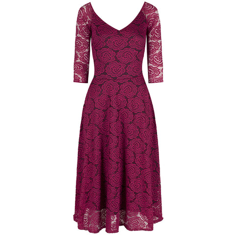 Magenta Red 3/4 Sleeve Lace Tea Dress