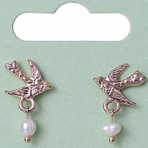 Rose Gold Swallow Pearl Earrings