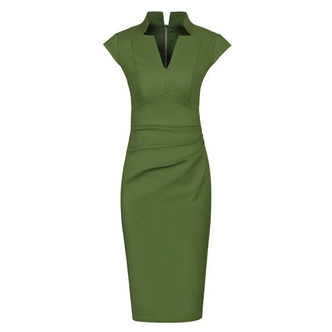 Olive Green High Collar V Neck Ruched Pencil Dress