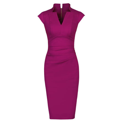 Purple Berry High Collar V Neck Ruched Pencil Dress
