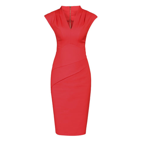 Red V Neck Capped Sleeve Ruched Waist Pencil Dress