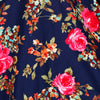 Vintage Navy Blue Rose Floral 3/4 Sleeve Swing Dress