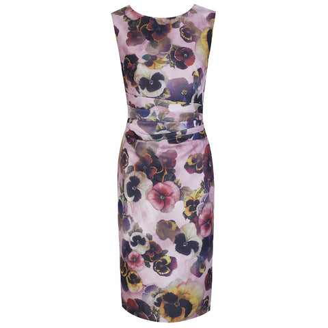 Pink Pansy Print Wiggle Pencil Dress