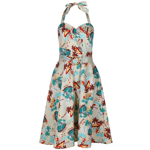 Hawaii Print Cream Halterneck Swing Dress