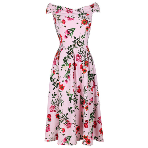 Pink Floral Print Crossover Bardot 50s Swing Dress