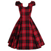 Red Woven Tartan Rockabilly 50s Swing Tea Dress - Pretty Kitty Fashion