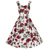 Ivory White and Red Rose Vintage Rockabilly Swing Dress - Pretty Kitty Fashion