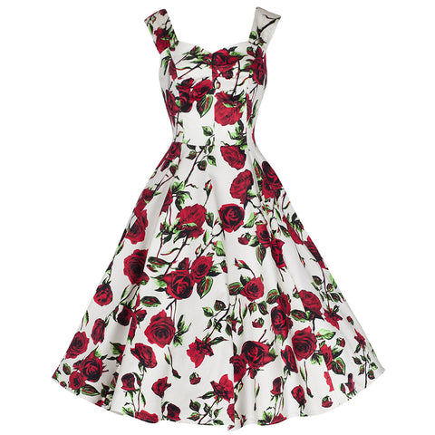 Ivory Red Rose Vintage Rockabilly Swing Dress - Pretty Kitty Fashion
