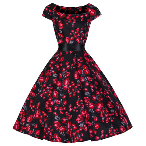 Pretty Kitty Red Rose Swing Dress