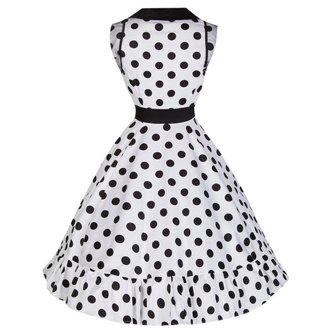 PRETTY KITTY White Black Polka Dot Sleeveless Dress