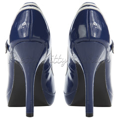 Pin Up Couture Blue and White Patent High Heel Mary Jane Heels