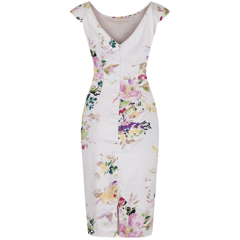 Pale Pink Floral Wiggle Pencil Dress