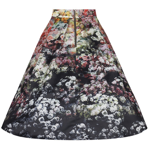 Multi Floral Print Skirt - Pretty Kitty Fashion