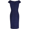 Navy Blue Vintage Lace Bardot Wiggle Pencil Dress - Pretty Kitty Fashion