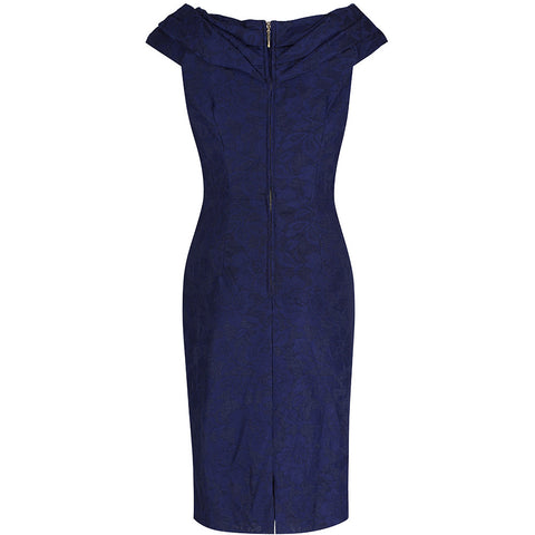 Navy Blue Lace Bardot Wiggle Pencil Dress