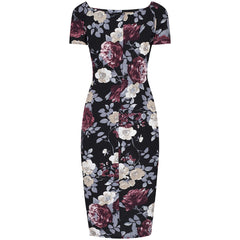 Black Floral Capped Sleeve Bodycon Wiggle Dress