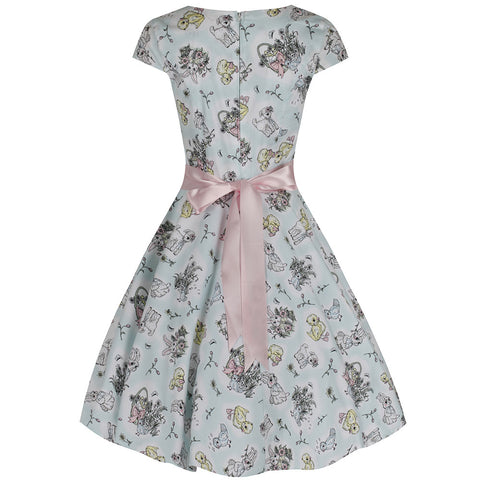 Mint Green Bunny Lambs Chick Midi Dress