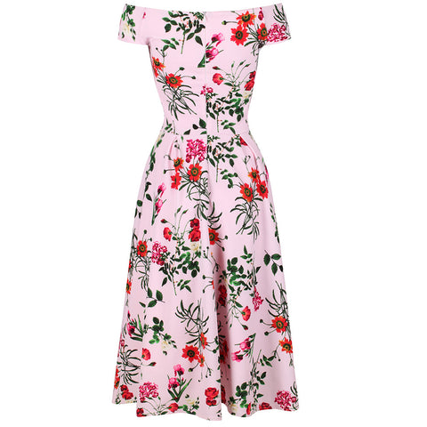 Pink Floral Crossover Bardot Swing Dress