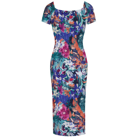 Tropical Floral Capped Sleeve Bodycon Wiggle Dress