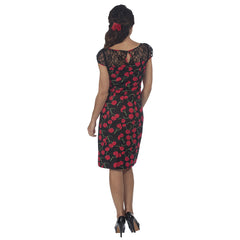 Black Red Cherry Print Sexy Wiggle Pencil Dress - Pretty Kitty Fashion