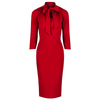 Red 3/4 Sleeve Tie Neck Bodycon Pencil Dress