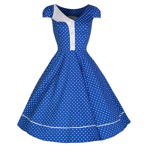 Pretty Kitty Blue White Polka Dot Panel Swing Dress